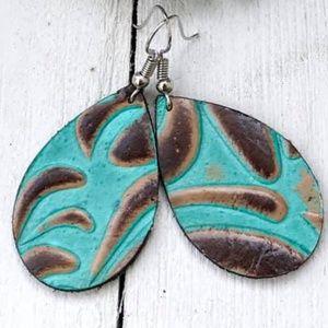 Turquise & Bronze Swirl Leather Teardrop Earrings